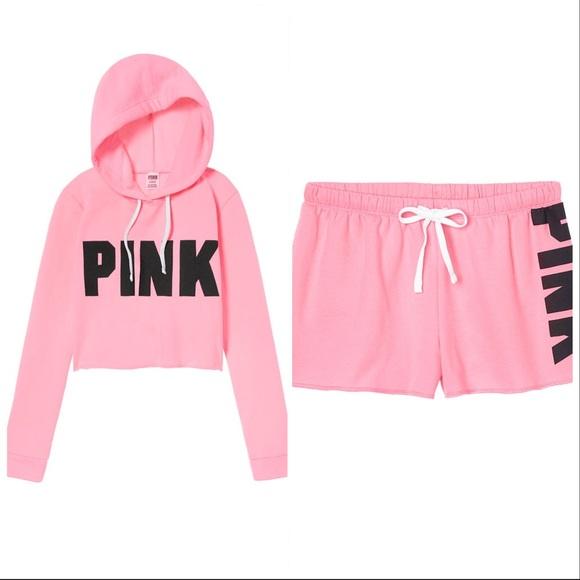 1ab81fa78be Victoria's Secret PINK Cropped Hoodie & Short Set.  M_5a9db6bc8af1c5f2b3135a10